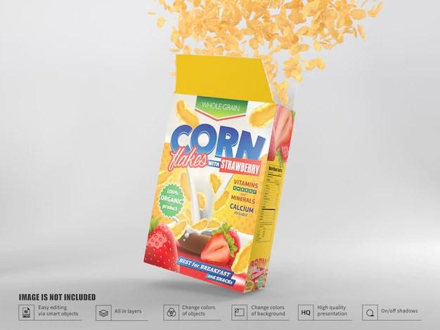 Download Realistic cereal box packaging mockup | Premium PSD File