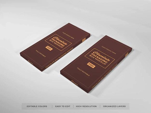 Download Premium PSD | Realistic chocolate box packaging mockup