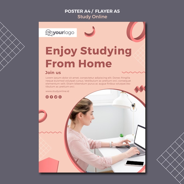 free psd study online poster template