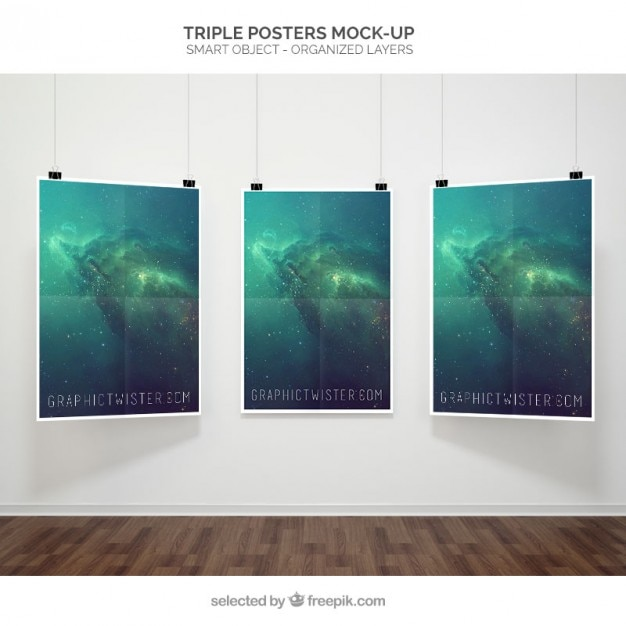 free psd triple poster mockup