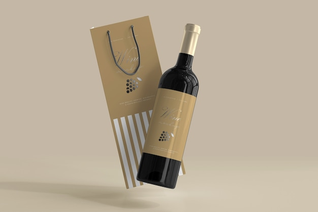 A list of amazing free product packaging mockups in psd format. Free Psd Wine Bottle Mockup With Bag