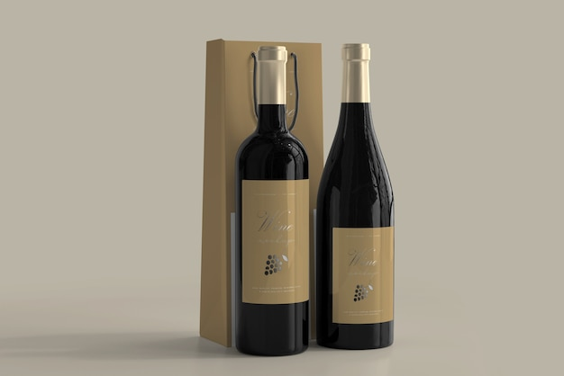 Matte paper bag (120x430mm) for wine bottle with rope handle. Free Psd Wine Bottle Mockup With Bag
