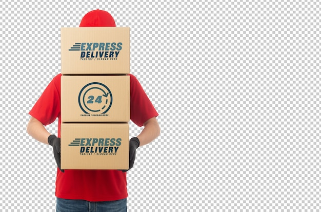 Download Young delivery man holding paper cardboard box mockup ...