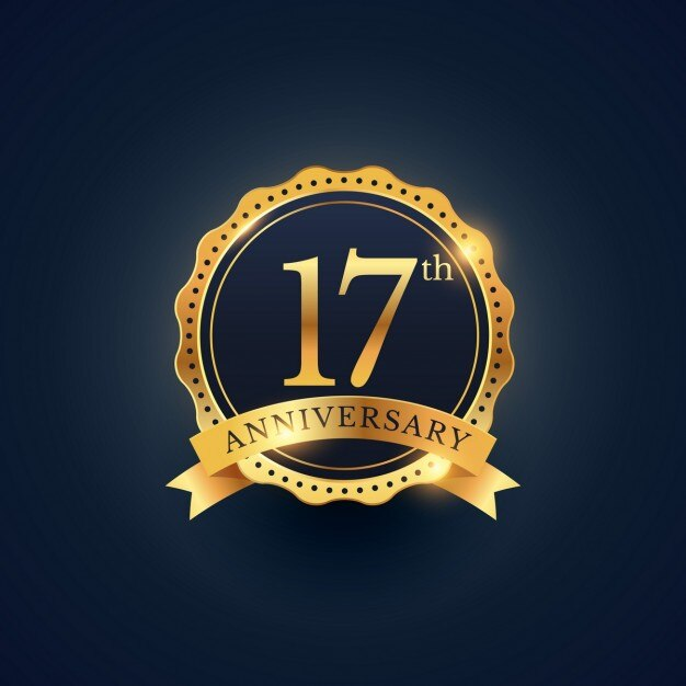 17th anniversary golden edition Vector  Free Download