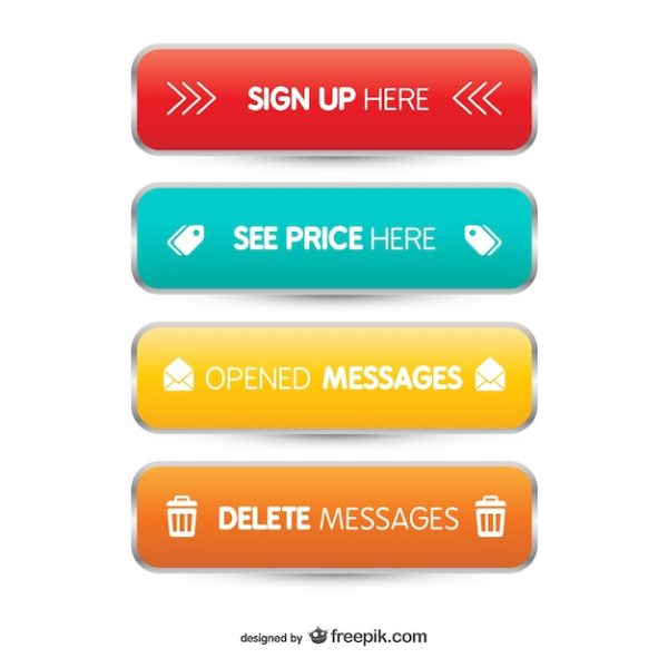 3D Web buttons Vector Free Download