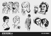 50s and 60s women vector free