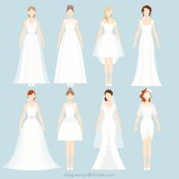 8 different wedding dresses Vector