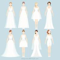 8 different wedding dresses Vector