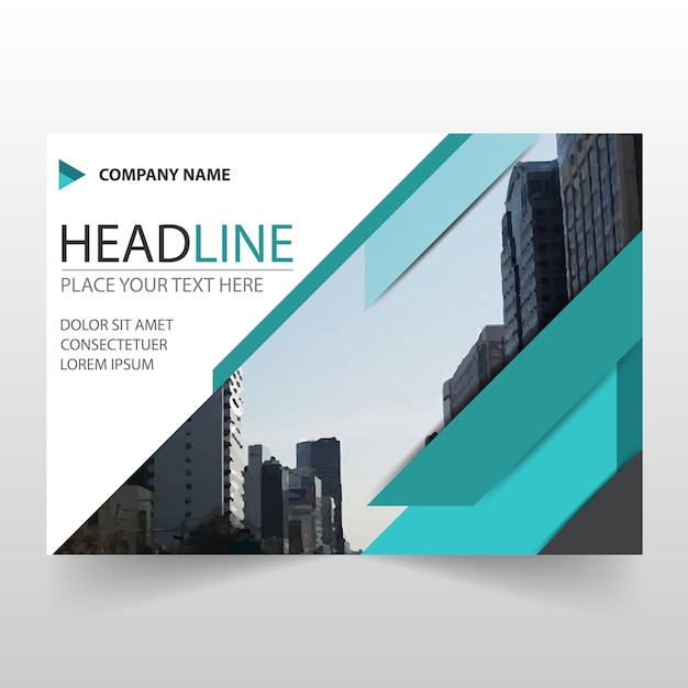 Abstract Green Horizontal Business Flyer Template Vector