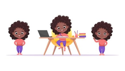 Premium Vector African american cute girl set with afro hairstyle and different gestures and poses isolated girl study at the table at home cartoon illustration
