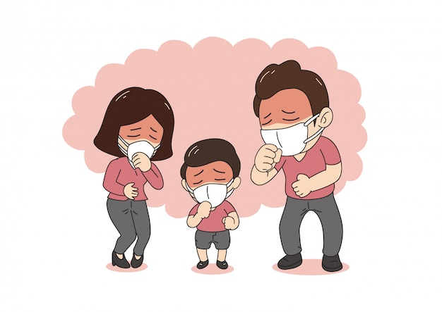Air pollution concept sick family coughing and wearing protective ...