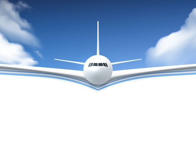 Airplane realistic poster Free Vector