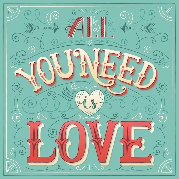 Download 'all you need is love' hand-lettering for print   Premium ...