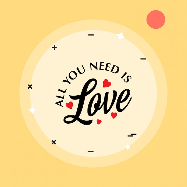 All you need is love with yellow pattern background Vector ...