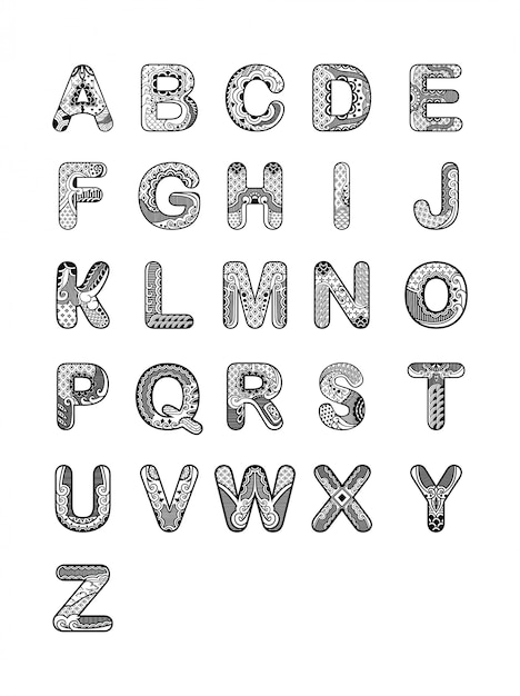 alphabet ornament font vector