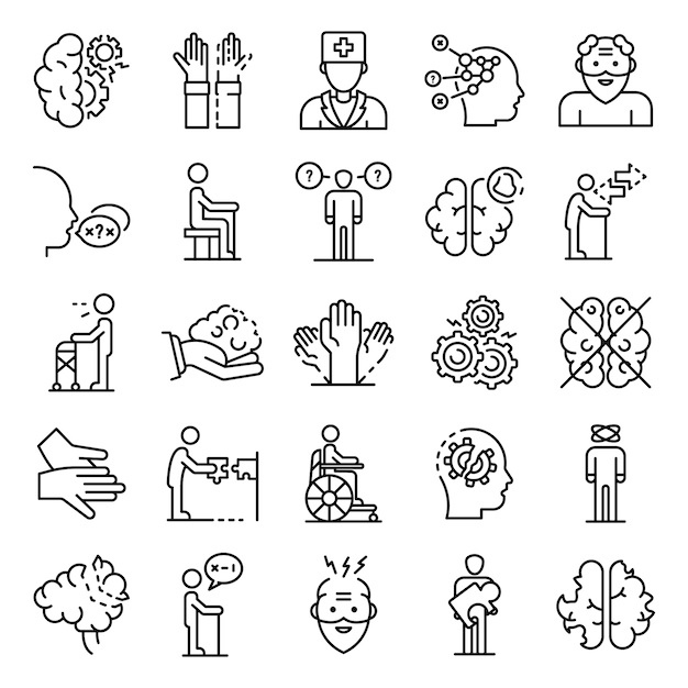 Alzheimers disease icons set, outline style Vector