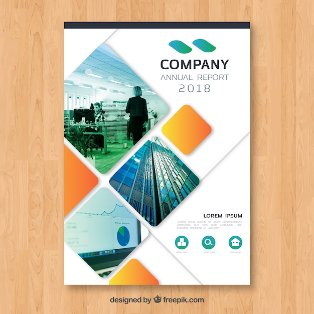 Annual report cover with image Vector  Free Download