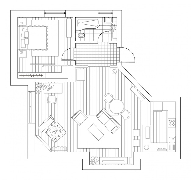 Architecture plan with furniture in top view. coloring