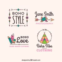 Assortment of boho logos with great designs Vector | Free ...