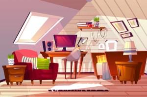 cartoon living attic background interior vector illustration bedroom garret rooms illustrations furniture backgrounds messy freepik vectors teen bed cartoons livingroom