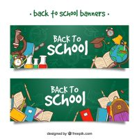 Back to school banners with hand drawn school supplies ...