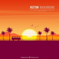 Background of sunset silhouettes on the beach Vector ...