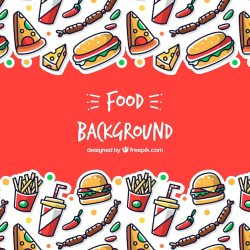 Free Vector Background with different fast food
