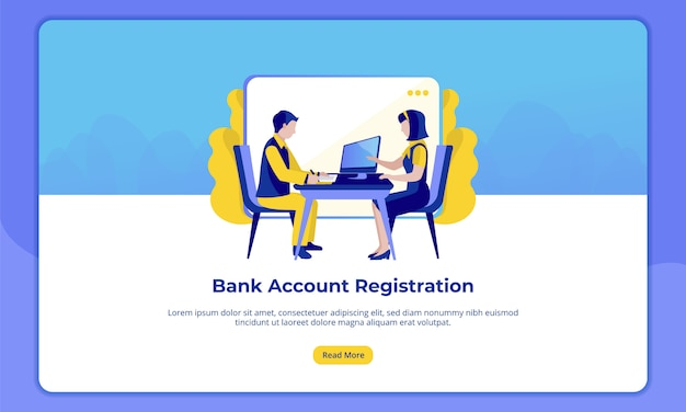Premium Vector Bank Account Registration For Banking Industry Landing Pages