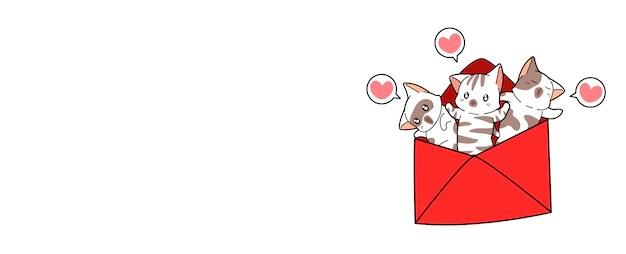 Download Banner cats inside love letter | Premium Vector