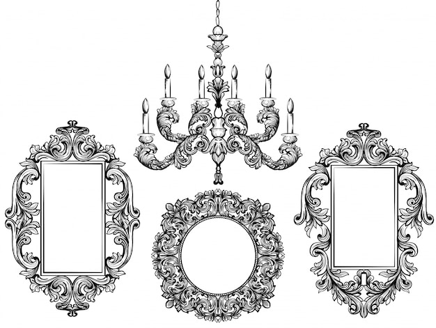 Baroque chandelier and mirror frames. Detailed rich