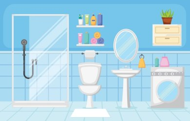 Premium Vector Bathroom interior clean modern room furniture flat design