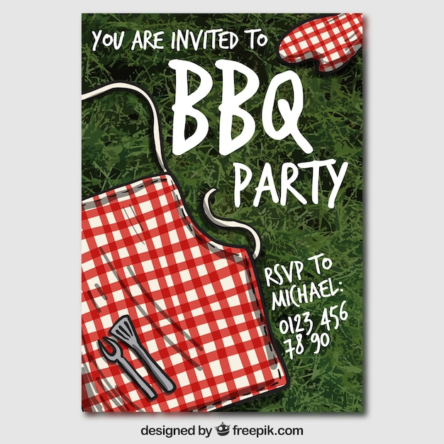free vector bbq party invitation