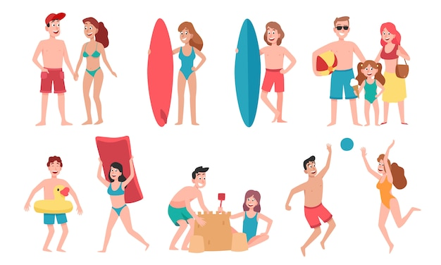 Premium Vector Beach People Family Holiday Vacation Sunbathing On Beach And Happy Friends Summer Fun Cartoon Illustration