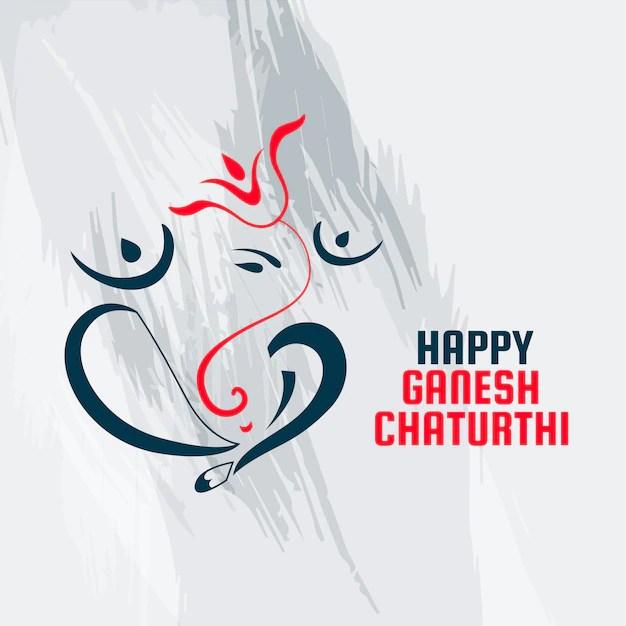 Free Vector Beautiful Line Style Ganesh Ji For Ganesh Chaturthi