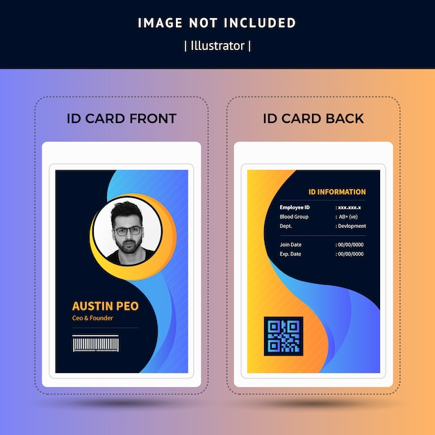 Browse through our creative designs and. Premium Vector Beautiful Wavy Office Staff Id Card Template