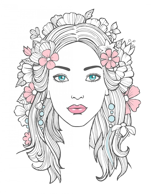 Girl With Flower Head Drawing : flower, drawing, Premium, Vector, Beautiful, Woman, Portrait., Mysterious, Drawing, Beauty, Young, Female, Flowers