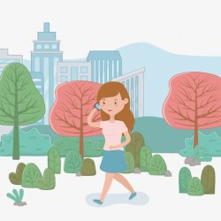 Free Vector Beautiful woman walking in the park using smartphone