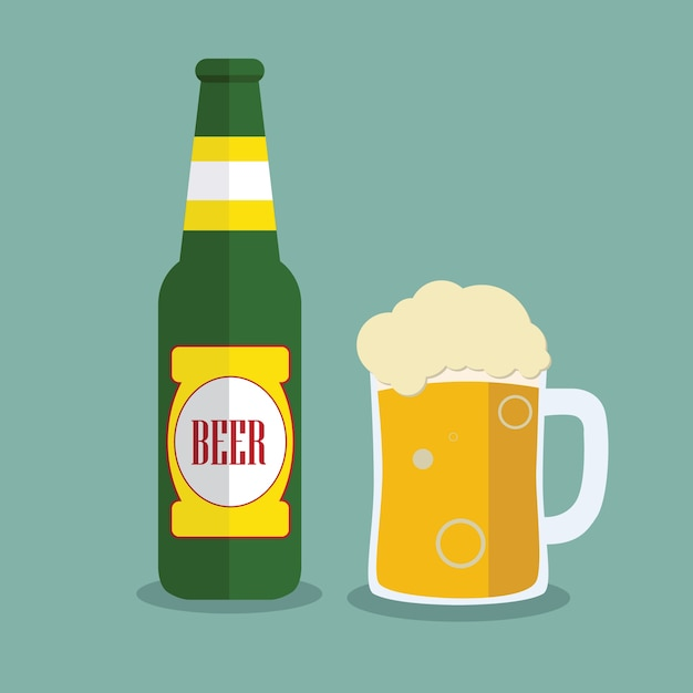 Download Beer bottle and mug with label isolated on background ...