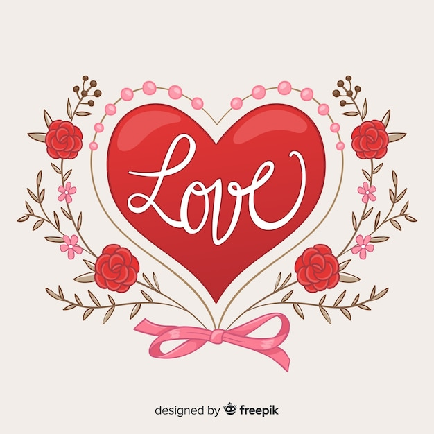 Big heart with flowers background Free Vector