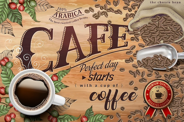Black coffee ads, top view of illustration black coffee on retro engraving coffee cherries and beans background Premium Vector