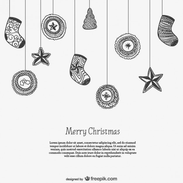 Black and white card template with christmas ornaments