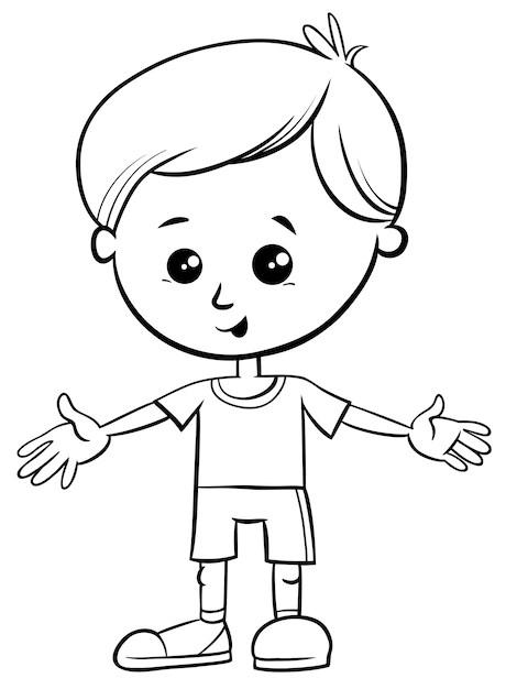 Black and white cartoon illustration of cute little boy