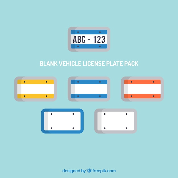 blank vehicle license plate