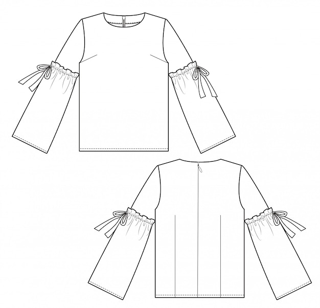 Blouse fashion flat technical drawing template Vector
