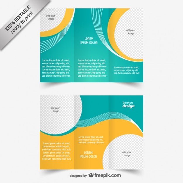 Blue And Yellow Brochure Template Vector Free Download