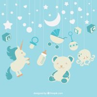 Blue background with baby elements hanging Vector