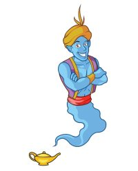 Blue Genie Coming Out of the Lamp Vector | Premium Download