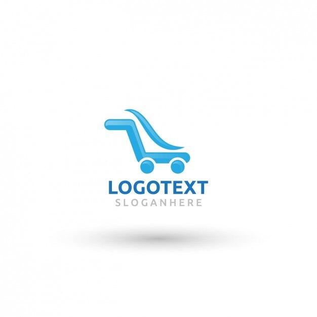 blue logo in shopping