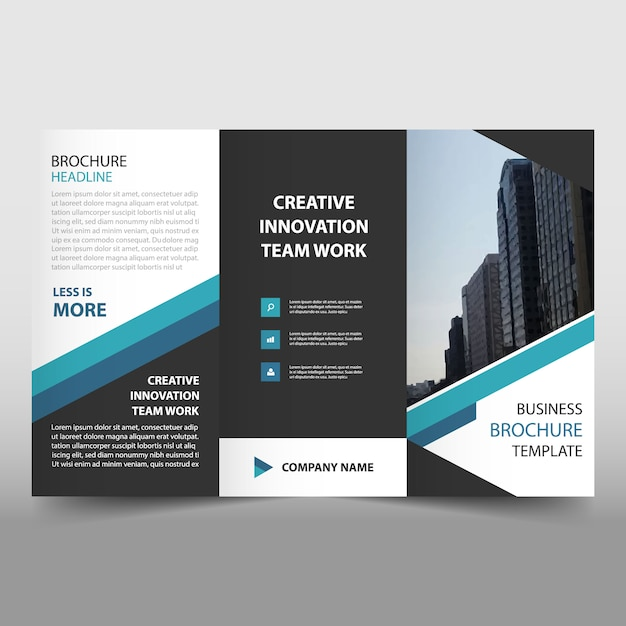 Blue Trifold Business Flyer Template Vector Free Download