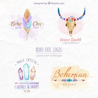 Boho chic logos design Vector | Free Download